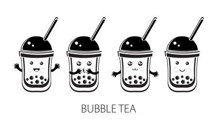 Cute kawaii character black Tapioca pearls. Bubble tea. Cartoon vector illustration of ball tapioca or boba. Boba tea, milk tea, Taiwanese drink. Hand drawn Doodle. Black and white. Asian product. Illustration