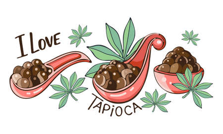 Set tapioca black pearls for bubble tea isolated. Hand drawn illustration of Tapioca balls In cartoon. Spoonin and bowl of Tapioca balls. Tapioca or Cassava leaves. Isolated object on white background in vector. Ilustração