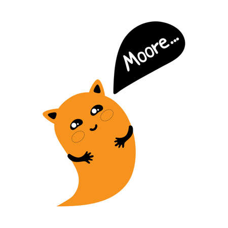 Cute cartoon cat Ghost says Moore. Kawaii character for a fun Halloween in vector. Vector graphics. Adorable, cute illustration for greeting card. Halloween icon logo.  イラスト・ベクター素材