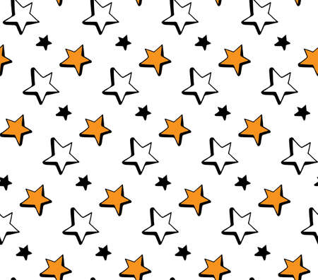 Seamless pattern hand drawn Doodle stars in vector. Starry sky in a simple children s style. Orange, black and white design. For textile, cloth, paper, packaging, background.