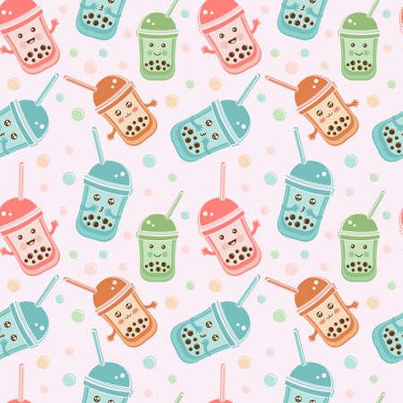 Seamless pattern black Tapioca pearls. Cute kawaii character bubble tea isolated on white background. Cartoon vector illustration of ball tapioca or boba. Boba tea, milk tea, Taiwanese drink. Doodle.