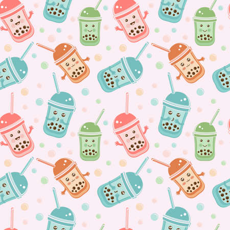 Seamless pattern black Tapioca pearls. Cute kawaii character bubble tea isolated on white background. Cartoon vector illustration of ball tapioca or boba. Boba tea, milk tea, Taiwanese drink. Doodle.