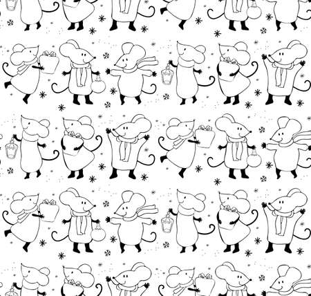 Seamless pattern of cute cartoon mouse in vector. Chinese symbol 2020 new year. Background New year and Christmas. Hand-drawn black and white line. Festive winter decoration.