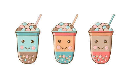Cute kawaii character black Tapioca pearls. Bubble tea isolated on white background. Cartoon vector illustration of ball tapioca or boba. Boba tea, milk tea, Taiwanese drink. Hand drawn Doodle.