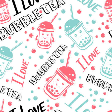 Seamless pattern black Tapioca pearls and lettering I love Bubble tea. Cartoon vector illustration of ute kawaii ball tapioca or boba. Boba tea, milk tea, Taiwanese drink. Hand drawn Doodle. Asian product.