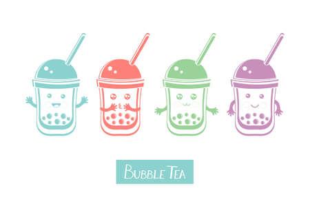 Set cute kawaii character black Tapioca pearls. Bubble tea. Cartoon vector illustration of ball tapioca or boba. Boba tea, milk tea, Taiwanese drink. Hand drawn Doodle. Asian product. Иллюстрация