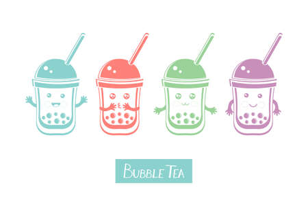 Set cute kawaii character black Tapioca pearls. Bubble tea. Cartoon vector illustration of ball tapioca or boba. Boba tea, milk tea, Taiwanese drink. Hand drawn Doodle. Asian product. Illustration