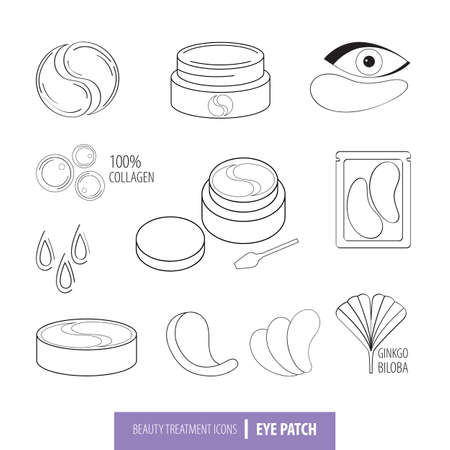 Beauty cosmetics line art icon set. Collagen eye patches in vector. Korean cosmetics. Icons patch for eyes, collagen, Ginkgo biloba, packaging with patch. Isolated objects. Black and white drawn line