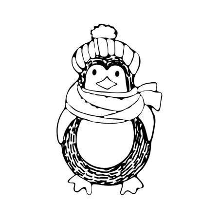 Cute cartoon penguin in a knitted hat and scarf. Winter illustration for design on the theme of Christmas and New year. Hand-drawn black and white art line in vector. Kids coloring page. Doodle  イラスト・ベクター素材