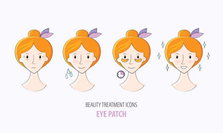 Collagen eye patches in vector. Beauty treatment illustration, application of patches under the eyes. Korean cosmetics. Steps how to apply eye patches. Beauty cosmetics icons. Spa salon or home.