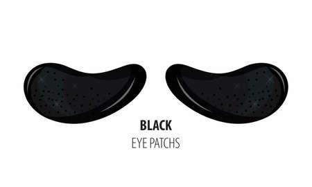 Kosmetisches Hydrogel Black Pearl Augenklappe. Kosmetisches Produkt für die Haut. Flecken unter den Augen. ollagen maske. Koreanische Kosmetik. Gesichtspflege. Schönheitsprodukt für die Augenpflege im Vektor.