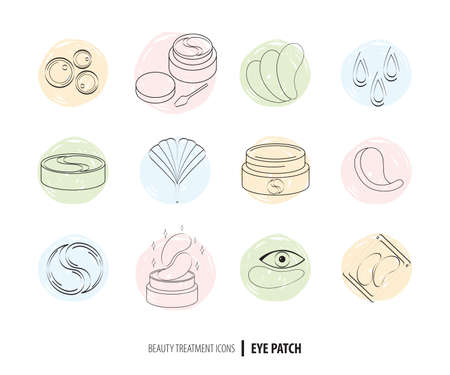 Beauty cosmetics line art icon set. Collagen eye patches in vector. Korean cosmetics. Icons patch for eyes, collagen, Ginkgo biloba, packaging with patch. Facial skin care. Drawn line art. Doodle 일러스트