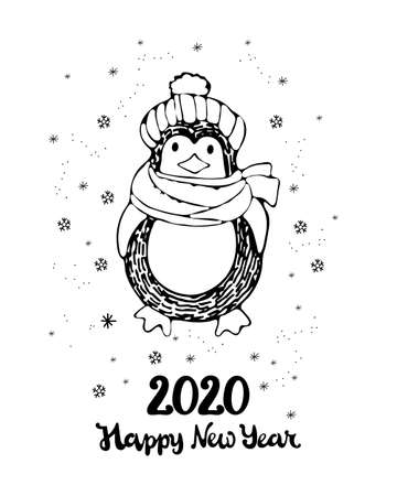 New year and Christmas greeting card. Cute cartoon penguin in a knitted hat and scarf. Lettering happy new year. 2020. Hand-drawn black and white art line in vector. Kids coloring page.