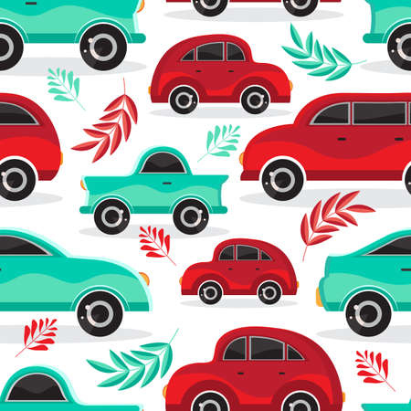 Seamless pattern of green and red cartoon car in flat vector. Transport vehicle. Children s cute background toy car. Fun design for textiles, paper, fabric, packaging, Wallpaper,