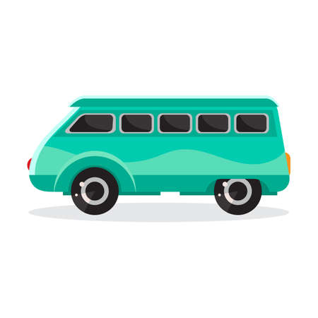 Green cartoon car in flat vector. Transport vehicle. Toy car in childrens style. Fun design for sticker, logo, label. Isolated object on white background. The view from the side.