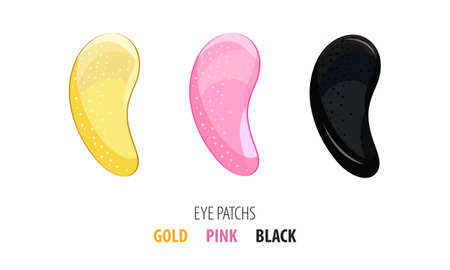 Set hydrogel cosmetic eye patch pink, gold and black. Cosmetic product for skin. Patches under the eyes. ollagen mask. Korean cosmetics. Facial skin care. Beauty product for eye care Çizim