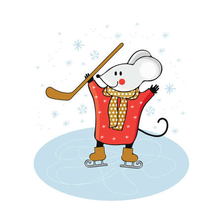 Cute cartoon mouse play ice hockey on ice. Mouse engaged in winter sports. Funny animal playing in winter. Win the games. Hand drawn vector illustration. Scandinavian style.