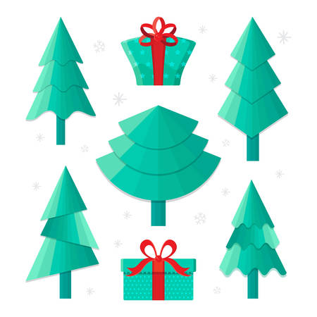 Set different Christmas tree and gifts, vector illustration. Can be used for greeting card, invitation, banner, web design.Traditional symbol to new year. Flat vector. Cute cartoon vector icon.