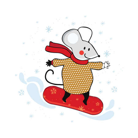 Cute cartoon little mouse snowboarding downhill. Mouse engaged in winter sports. Funny animal on a snowboard. Hand drawn vector illustration. Scandinavian style.
