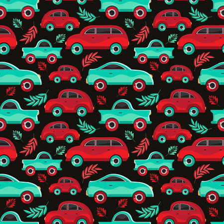 Seamless pattern of green and red cartoon car in flat vector. Transport vehicle. Children s cute background toy car. Fun design for textiles, paper, fabric, packaging, Wallpaper, websites.