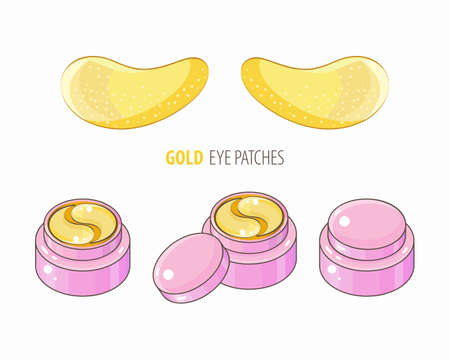 Set hydrogel golden cosmetic eye patch in a pink jar. Cosmetic product for skin. Patches under the eyes. ollagen mask. Korean cosmetics. Facial skin care. Beauty product for eye care in vector.