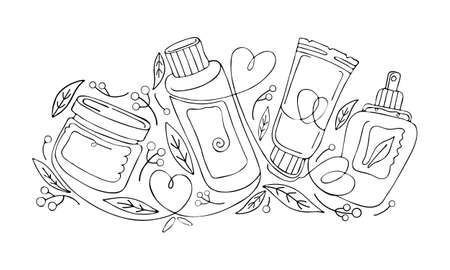 Natural herbal organic cosmetic. Hand drawn illustration: cream, tube, spray, bottle, herbs, leaves, berries. Black and white continuous line, art line. Concept of plant eco cosmetics for skin. Ilustração