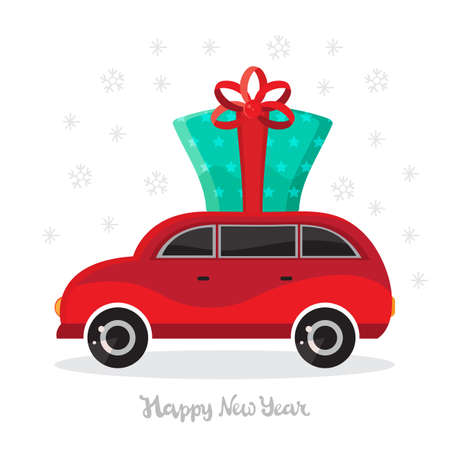 Car with gifts on a winter background. Christmas car toys with gift boxes of vector cartoon. Flat design vector festive holiday design element. Christmas and new year shopping. Children s illustration