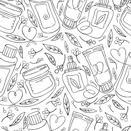 Seamless pattern natural herbal organic cosmetic. Hand drawn background: cream, tube, spray, herbs, leaves, berries. Black and white continuous line, art line. Concept of plant eco cosmetics for skin.