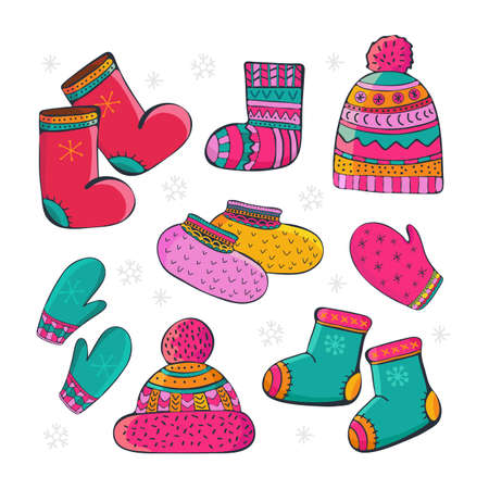 Set of cartoon vector winter accessories. Hand drawing of winter, warm clothes. Socks, a cap with a pompom, mittens, valenki, shoes. Fashion graphic. Clothes icons set. Bundle of seasonal clothing.
