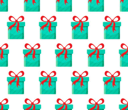 Seamless pattern different gift boxes in vector. Gift in flat style. Collection for Christmas, birthday and holidays. Christmas and new year background. Present box with bow. Cartoon design. Ilustrace