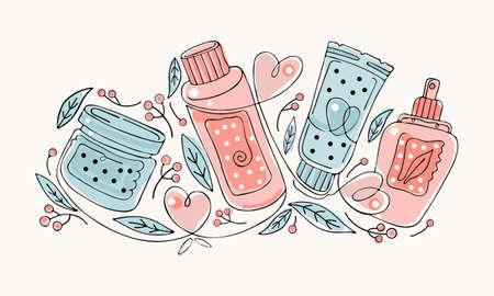 Natural herbal organic cosmetic. Hand drawn colored illustration: cream, tube, spray, bottle, herbs, leaves, berries. Ilustração