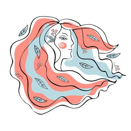 Woman face continuous line drawing. Linear black portrait on white backdrop. Minimalist young woman portrait sketch. Contour face poster wall art design. Continuous line drawing. Hand drawing. Banque d'images - 132227408