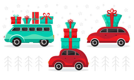 Cars with gifts on a winter background. Christmas cars toys with gift boxes of vector cartoon. Flat design vector holiday design element. Christmas and new year shopping. Children s illustration.  イラスト・ベクター素材
