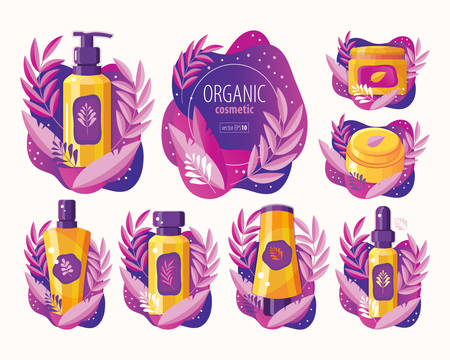 Set natural herbal organic cosmetic. Plant cosmetics. Professional face and body care. Ecological and natural beauty products. Spa cosmetics. Cream, gel, lotion, soap, shampoo, balm, serum in vector. Icon in flat vector.
