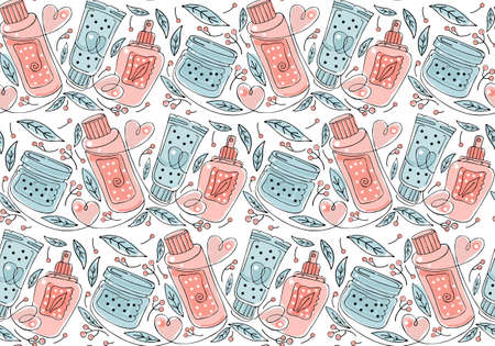 Seamless pattern natural herbal organic cosmetic. Hand drawn colored background: cream, tube, spray, herbs, leaves, berries. Black and white art line. Concept of plant cosmetics for skin.