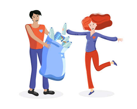 Volunteers picking up plastic garbage into bags outdoor. People collecting trash. Volunteering, ecology, environment concept. Cartoon flat illustration. Sorting and recycling waste. Nature cleanup.