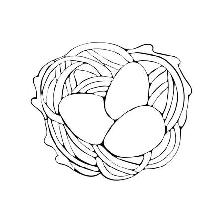 Easter egg in the nest drawn by a black line. Easter icon art line. Vector hand drawn line illustration. Nest with eggs. Black and white vector doodle. 向量圖像