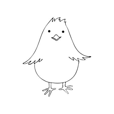 Little chicken art line in vector. Cute chick in cartoon style. Black drawn continuous line. Baby farm animal. Little cute baby chicken. Hand drawn sketch line art image. Bird black and white line.