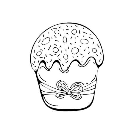 Easter cake or Easter sweet bread or Paska isolated on white background. Festive baking art line style. Easter food. Traditional orthodox food in contour style. Hand drawn vector illustration. Doodle