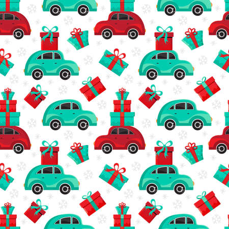 Seamless pattern red and green cars carries gifts in vector. Christmas and new year background. Cartoon toy car. Flat design vector festive holiday design element. Christmas shopping. Transport.