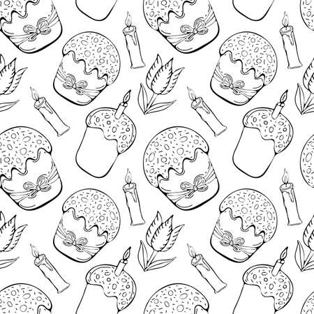 Seamless pattern Easter in vector. Happy Easter decoration symbols: Easter cake, burning candle and flowers. Happy Easter symbols drawn by black art line. Spring background. Doodle