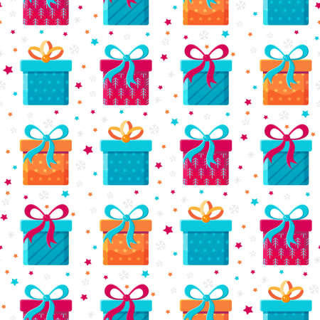 Seamless pattern different gift boxes in flat vector. Collection for Christmas, birthday and holidays. Christmas and new year background. Present box with bow. Cartoon design. Colorful illustration