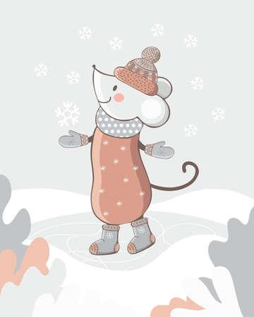 La souris mignonne marche dans la neige d'hiver dans des vêtements d'hiver. Carte de nouvel an ou de Noël. Rat drôle dans un chapeau, des mitaines et des bottes dans le vecteur. Style vintage dessiné à la main. Illustration pour enfants. Symbole 2020 Vecteurs