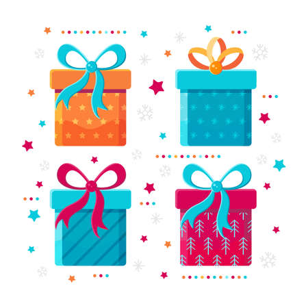 Set of different gift boxes in flat vector. Gift icon isolated on white background. Festive decoration of new year, Christmas, birthday, wedding. Childrens holiday. Present box with bow. Cartoon. Illustration
