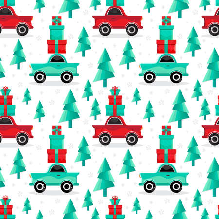 Seamless pattern red and green cars carries gifts in vector. Christmas and new year background. Cartoon toy car. Flat design vector festive holiday design element. Christmas shopping. Transport. Illustration