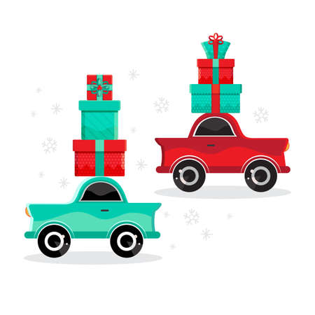 Set red and green cars carries gifts. New year and Christmas card or banner in vector. Cartoon toy car. Flat design vector festive holiday design element. Christmas shopping. Childrens illustration. Transport.