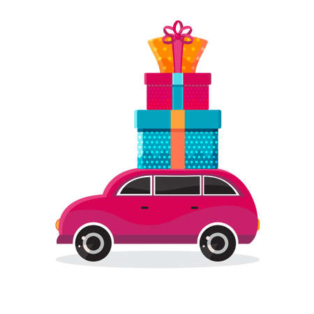 Car with gifts in vector. Christmas car toys with gift boxes of vector cartoon. Flat design vector festive holiday design element. Christmas and new year shopping. Childrens illustration
