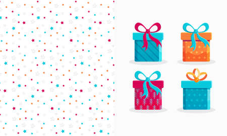 Set of seamless pattern and gift boxes in flat vector.Gift icon isolated on white background. Ready design for festive decoration of new year, Christmas, birthday, wedding, hildren s holiday Illustration