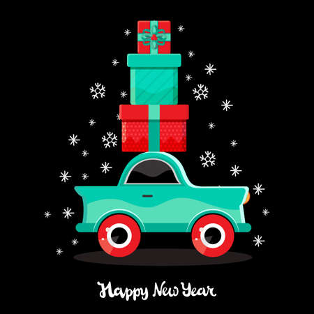 Green car carries gifts. New year and Christmas card in vector. Cartoon toy car. Flat design vector festive holiday design element. Christmas shopping. Childrens illustration. Holiday transport.