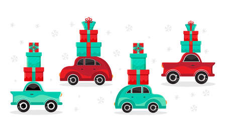 Set red and green cars carries gifts. New year and Christmas card or banner in vector. Cartoon toy car. Flat design vector festive holiday design element. Christmas shopping. Childrens illustration.